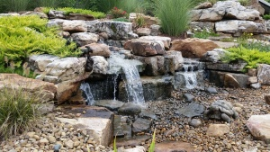 Backyard waterfall landscaping evansville Indiana